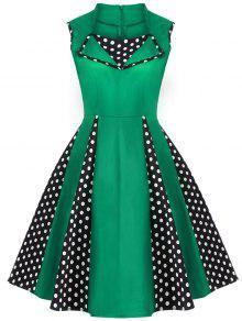 Vintage Sleeveless Polka Dot Dress - Green Xl