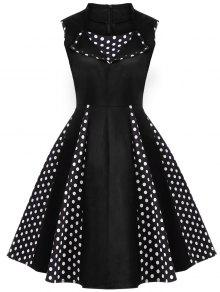 Vintage Sleeveless Polka Dot Dress - Black S