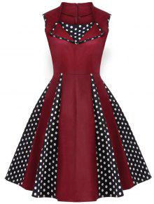 Vintage Sleeveless Polka Dot Dress - Burgundy L