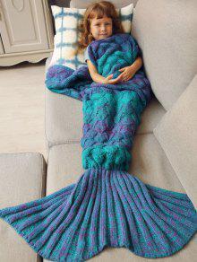 بطانية ميرميد محبوك النوم للأطفال  - أزرق