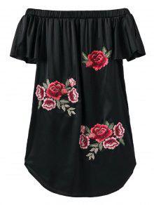 Fuera Del Hombro Floral Mini Vestido - Negro L
