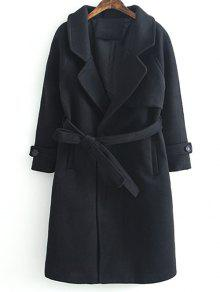 Woolen Lapel Collar Belted Coat - Black S