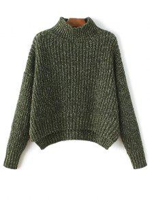 Chunky Mock Neck Sweater - ARMY GREEN ONE SIZE