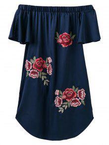 Fuera Del Hombro Floral Mini Vestido - Azul Marino  L