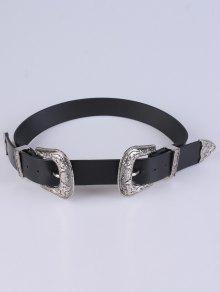 Cinturón De Cuero Con Doble Hebilla - Plata