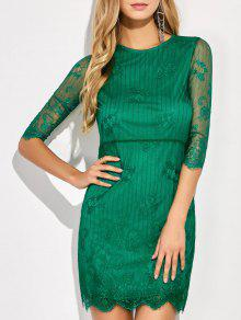 Scalloped Mini Floral Lace Dress - Green L