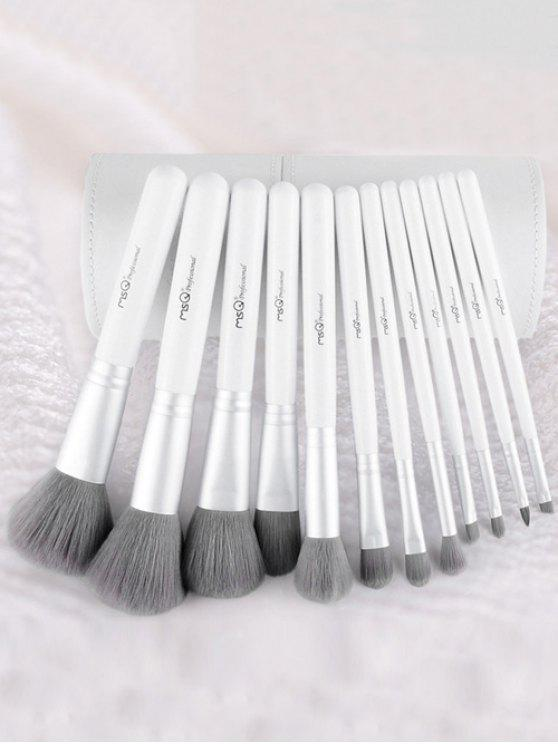 online 12 Pcs Fiber Makeup Brushes Kit - WHITE