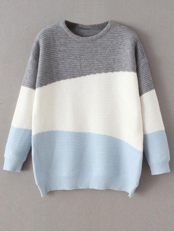 Suéter Cómodo Bloque Color Tamaño Extra Grande - Azul Única Talla