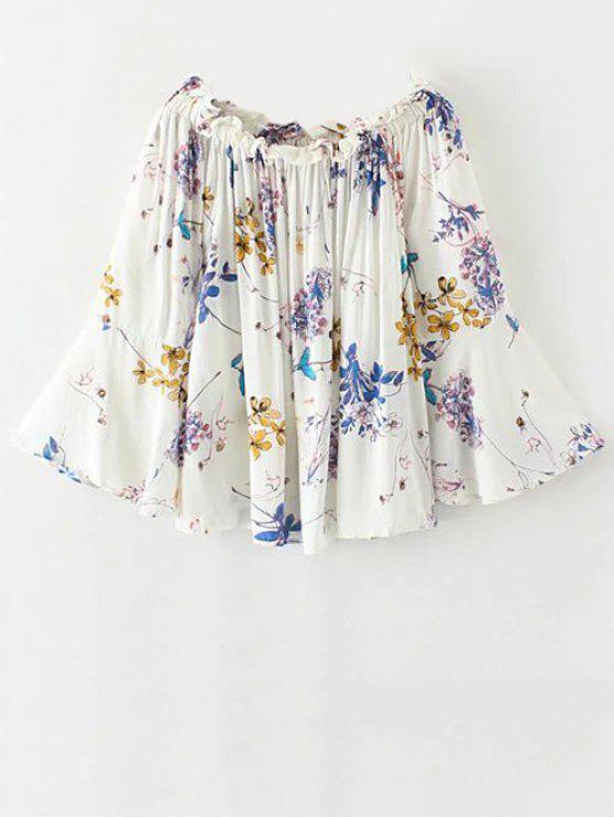 affordable Off Shoulder Flare Sleeve Floral Blouse - WHITE M