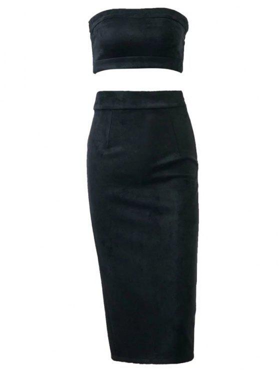 Gamuza ajustado de la falda con el tubo superior - Negro S