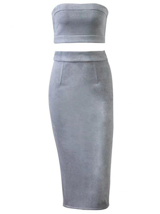 womens Suede Bodycon Skirt with Tube Top - GRAY M