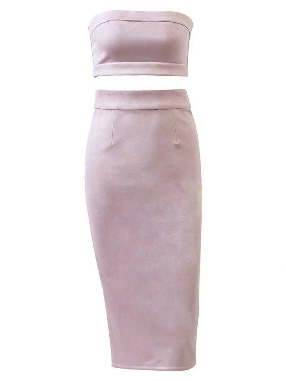 Wildleder Bodycon Rock mit Tube Top - Pink L