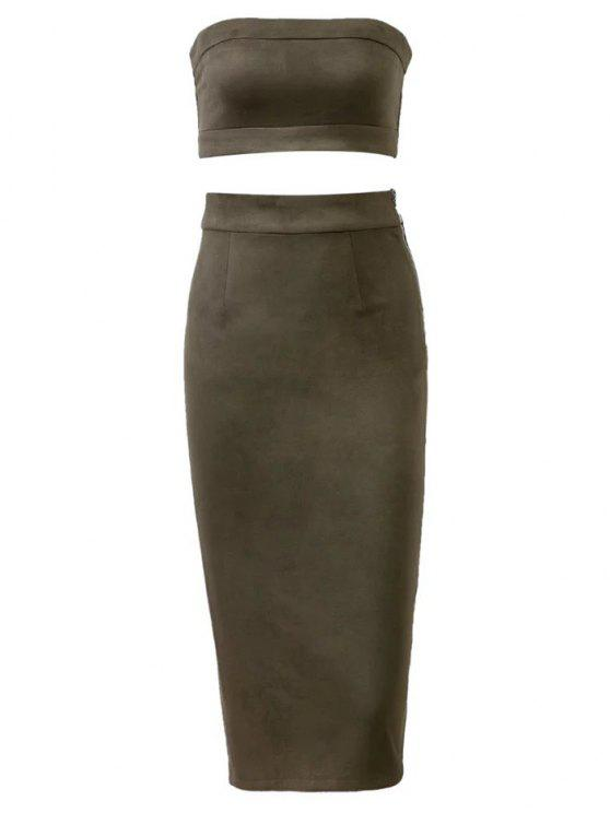 hot Suede Bodycon Skirt with Tube Top - ARMY GREEN L