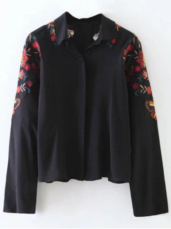 outfit Cropped Flower Embroidered Shirt - BLACK L