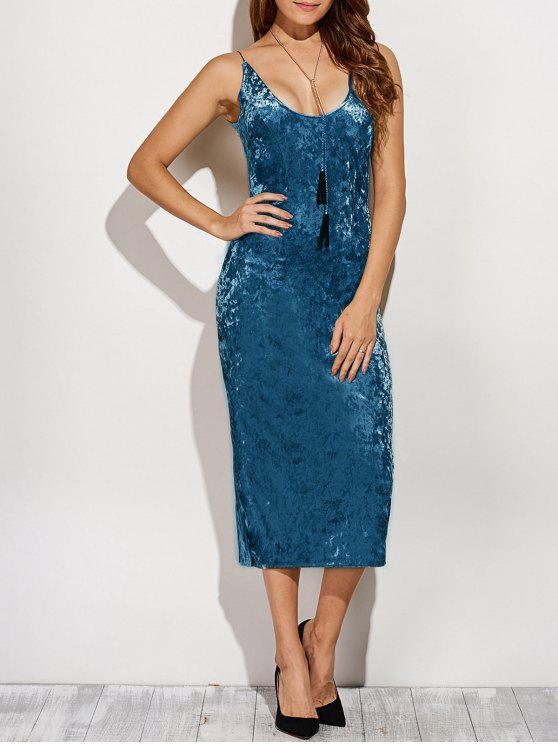 فستان ظهر الانقسام مخملي كامي رصاص - أزرق L