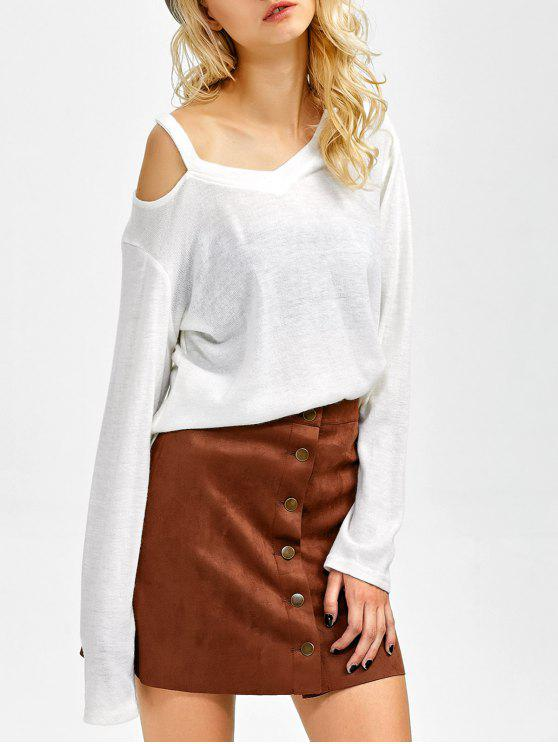 shop Cut Out Pullover Sweater - WHITE XL