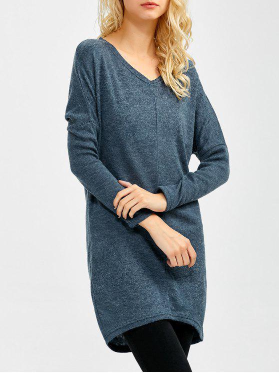 V cuello del suéter de la manga del Batwing - Azul Gris S