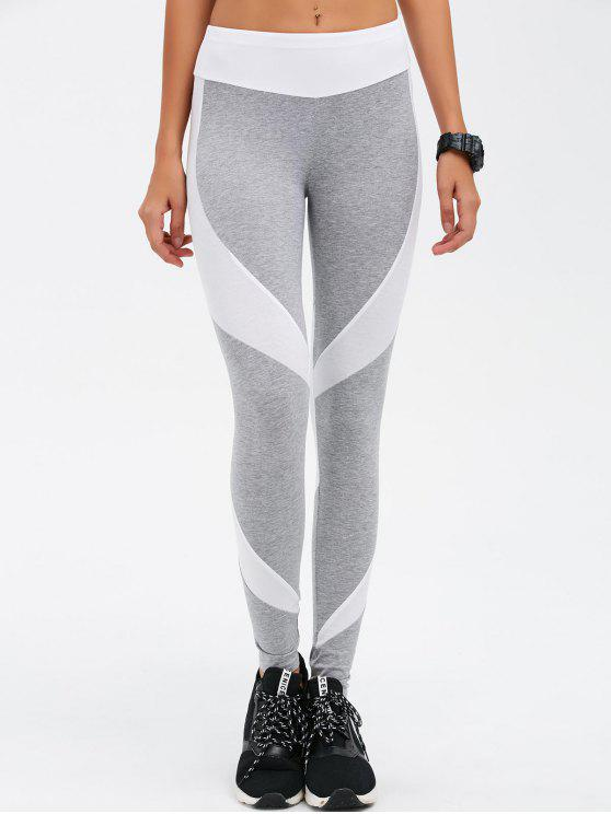 shops Slimming Stretchy Contrast Athletic Pants - LIGHT GRAY XL