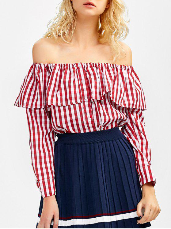 chic Gingham Check Off The Shoulder Blouse - RED S