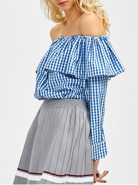 womens Gingham Check Off The Shoulder Blouse - BLUE L