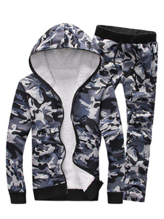 Conjunto moletom com capuz e calça com zíper e estampa camuflada - Cinzento XL