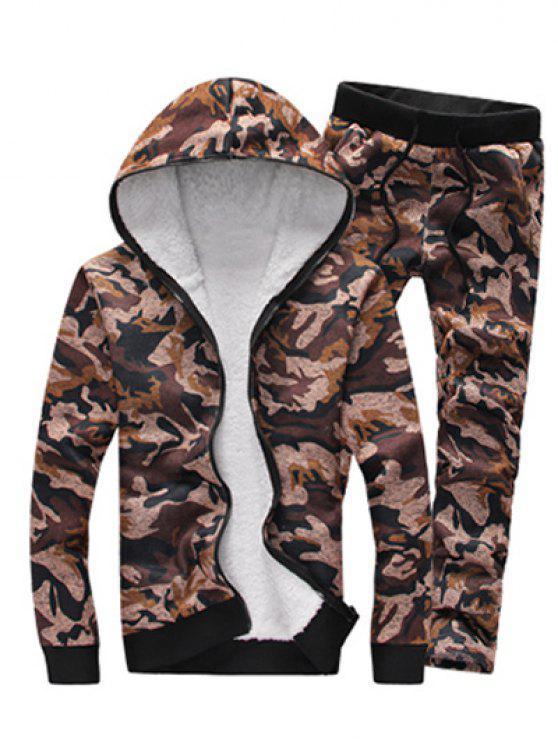 Camouflage Zip Up Beflockung Hoodie und Hosen Twinset - Kaffee 3XL