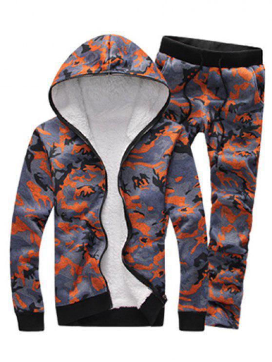 Conjunto moletom com capuz e calça com zíper e estampa camuflada - Laranja 2XL