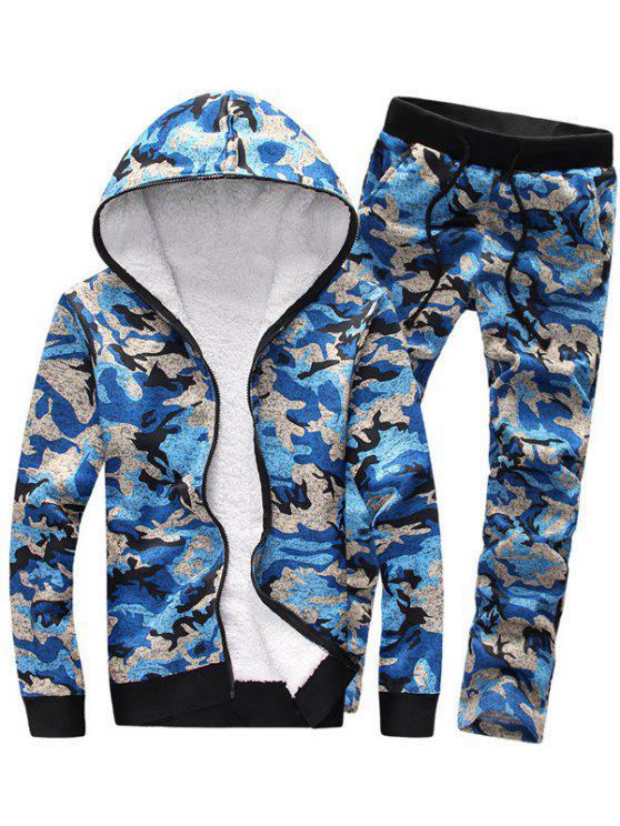 Conjunto moletom com capuz e calça com zíper e estampa camuflada - Azul L