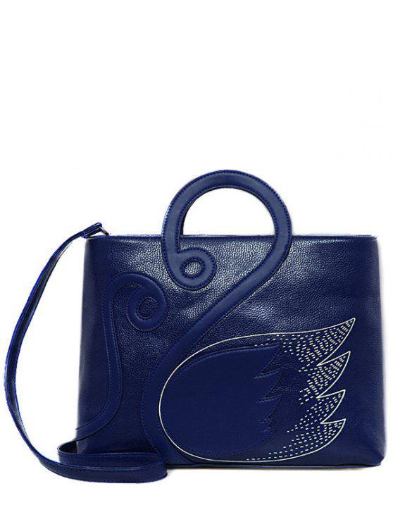 Sac à main en cuir imprimé aile avec couture - Bleu