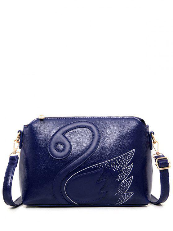 new Textured Leather Stitching Wing Pattern Crossbody Bag - BLUE