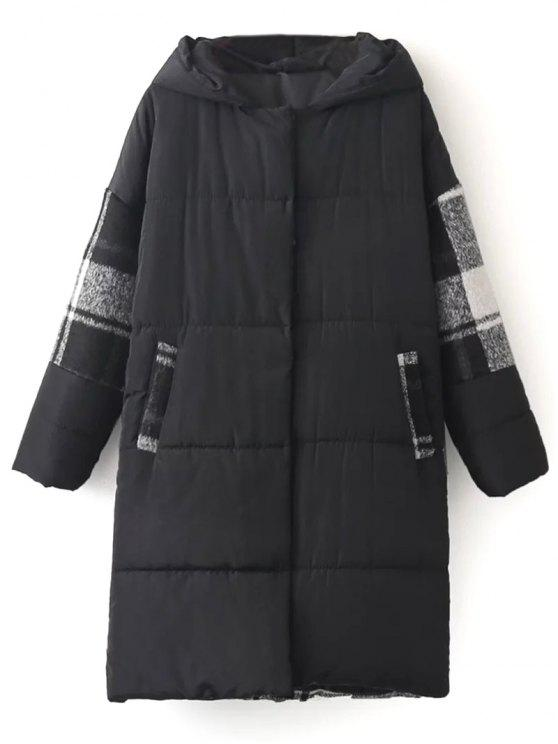 affordable Hooded Padded Winter Coat - BLACK ONE SIZE