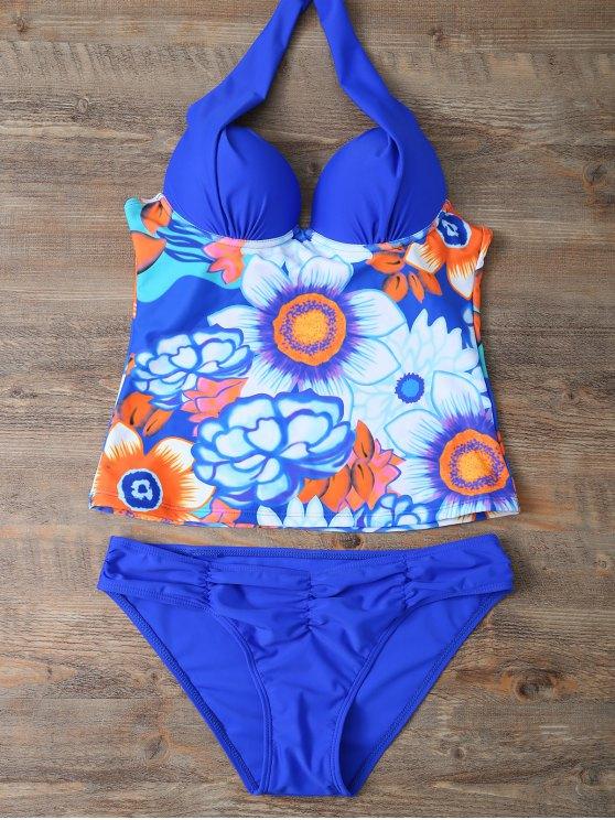 women's Ethnic Floral Underwire Tankini Swimsuit - BLUE L