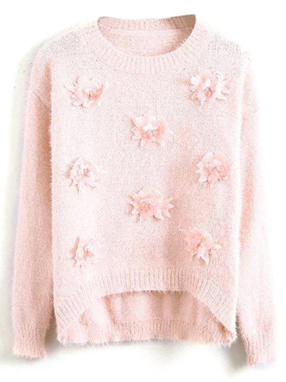ladies Floral Applique Fluffy Sweater - PINK ONE SIZE