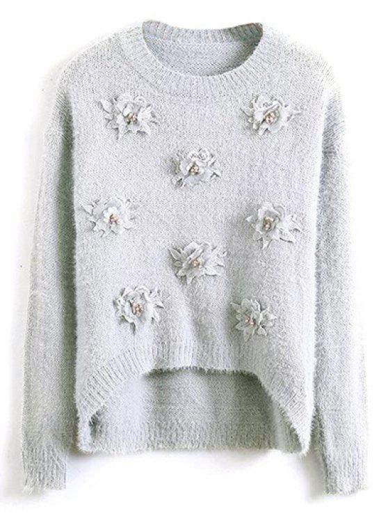 Floral Applique camisola macia - Cinzento Um Tamanho