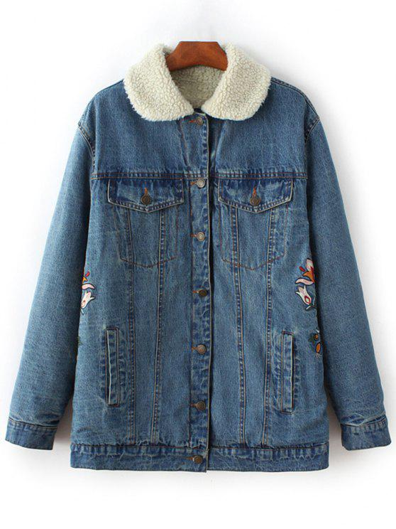 trendy Lamb Wool Embroidered Denim Coat - BLUE S