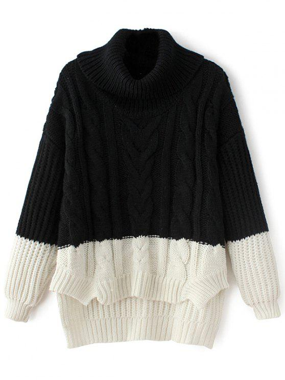 fashion Cowl Neck High-Low Sweater - BLACK ONE SIZE