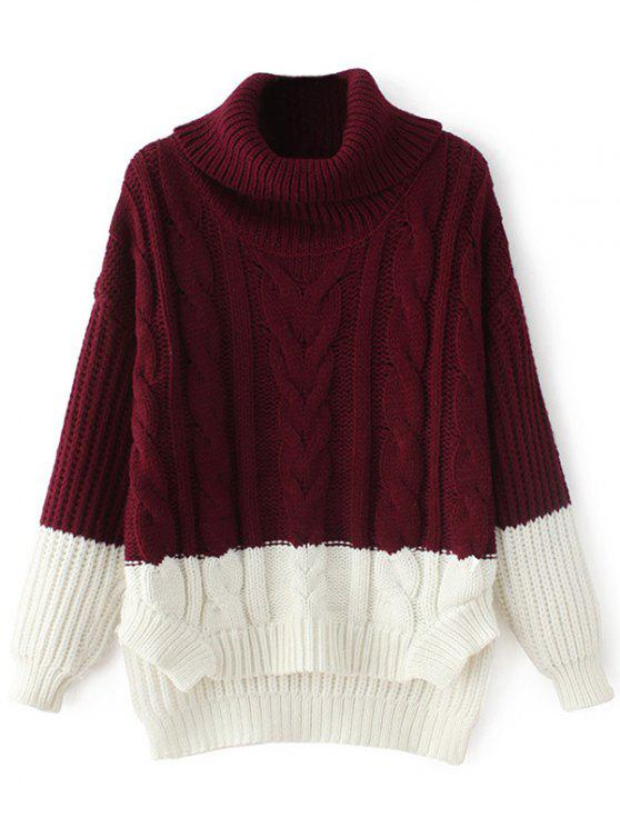 chic Cowl Neck High-Low Sweater - WINE RED ONE SIZE