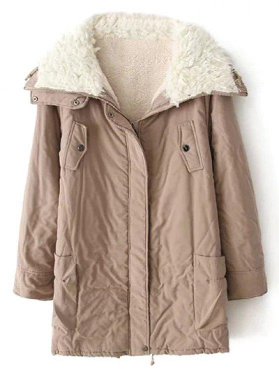 Zip-Up Lamb Wool Coat KHAKI: Jackets & Coats M | ZAFUL