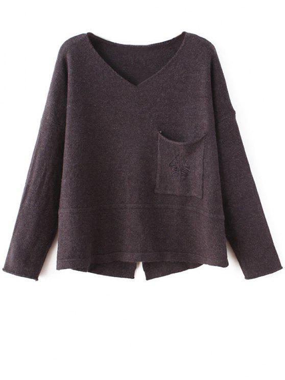 Hendidura cuello en V suéter - Café Única Talla