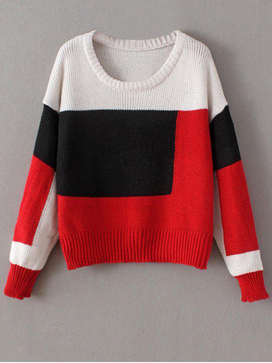 De cuello redondo del bloque del color del suéter grueso - Rojo Única Talla