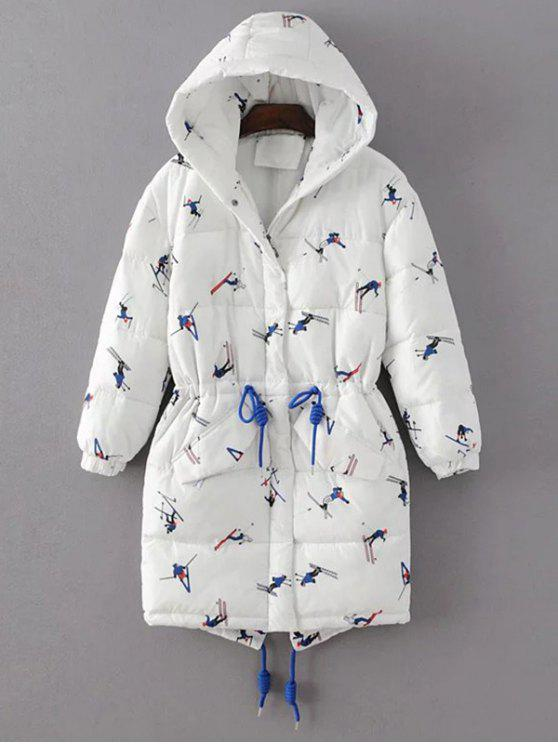 women's Drawstring Cartoon Print Padded Coat - WHITE M