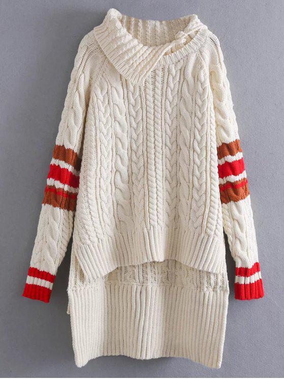 Contraste de ajuste Cable de punto del suéter - Blancuzco Única Talla