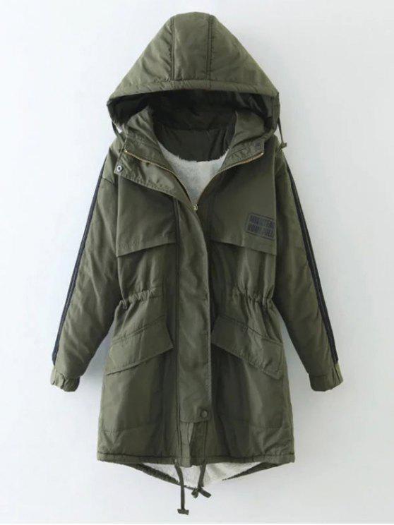 ladies Drawstring Zip-Up Hooded Puffer Coat - GREEN L