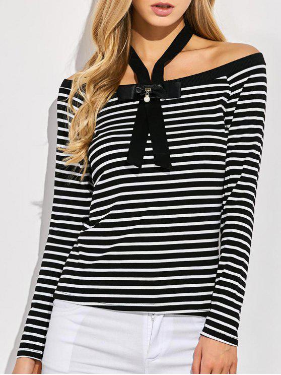 T-shirt à rayures avec nœud à deux boucles - Noir M