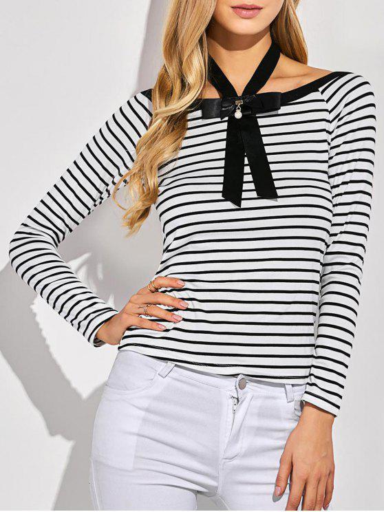 T-shirt à rayures avec nœud à deux boucles - Blanc XL