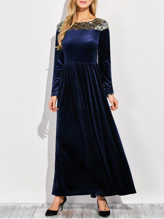 shop Sequined Velvet Long Swing Dress With Sleeves - BLUE S