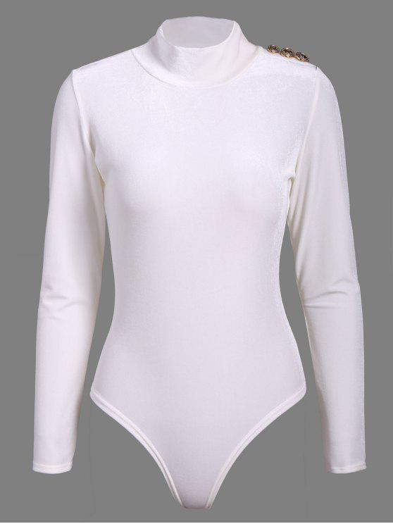 hot Turtle Neck Velvet Bodysuit - WHITE S