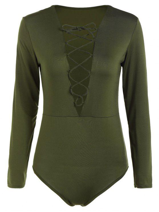 affordable Cut Out Lace-Up Bodysuit - ARMY GREEN S