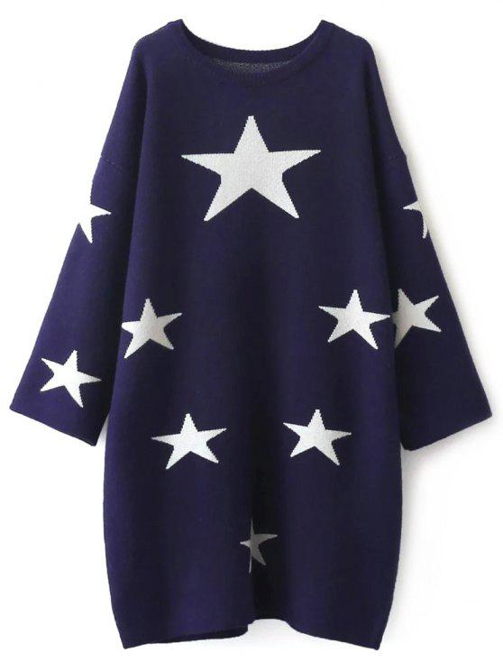 9cbf232c069 39% OFF  2019 Stars Jacquard Sweater Dress In CADETBLUE