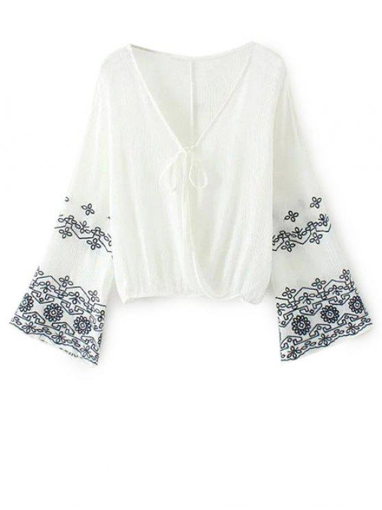 ladies Embroidered Loose Surplice Blouse - WHITE L